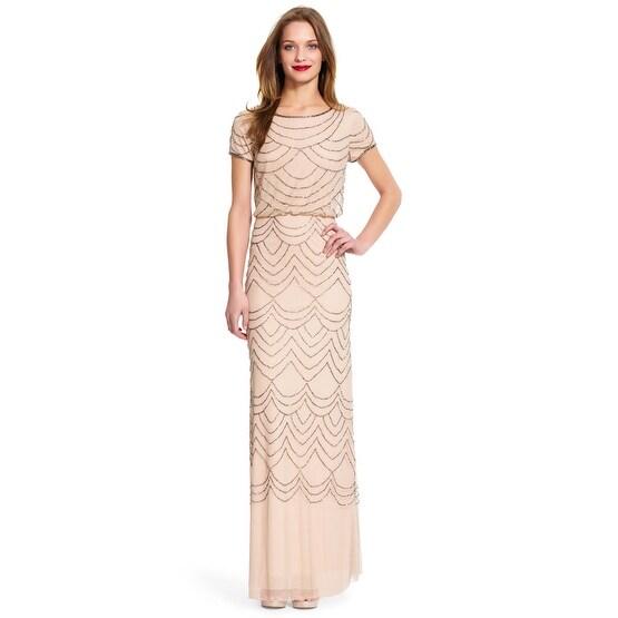 460520fec175 Shop Adrianna Papell Women s Short Sleeve Blouson Beaded Gown ...