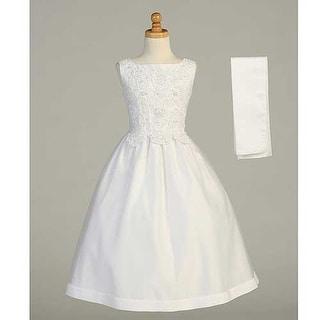 White Beaded Tea Length First Communion Dress Shawl Girls 7-20.5