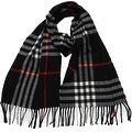 Winter or Fall Cold Weather Irish Plaid Long Cashmere Feel Scarf, Black - Thumbnail 0