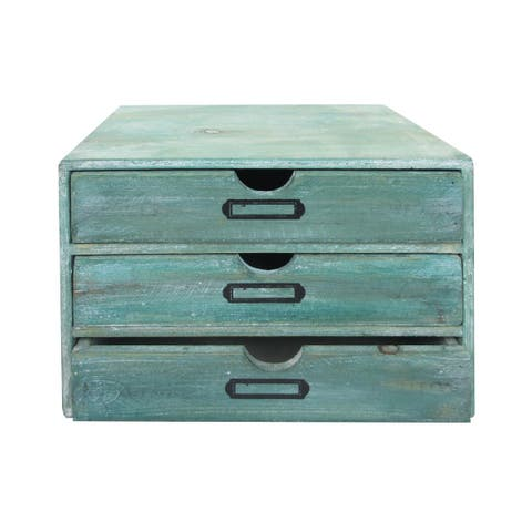 """SPC Wood Chest w/3 Drawers 9.8x7.08x7.5"""" Turquoise"""