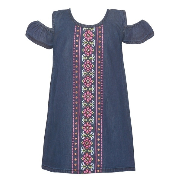 cd83c058231f4 Girls Dark Blue Motif Front Panel Cold Shoulder Vintage Denim Dress
