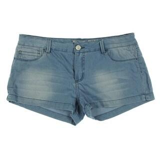 Indigo Rein Womens Juniors Flat Front Light Wash Casual Shorts - 9