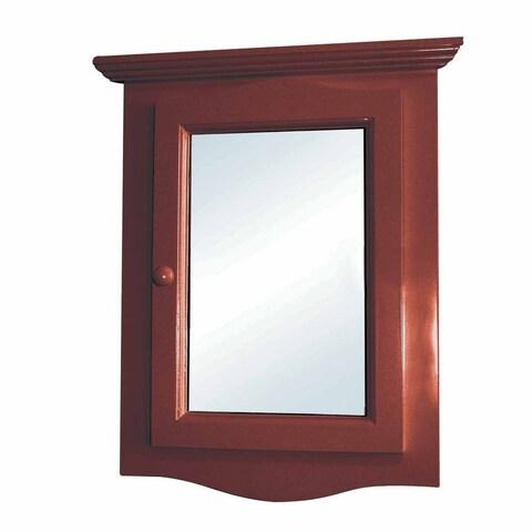 Cherry Hard Wood Corner Wall Mount Medicine Cabinet Mirror Fully Assembled