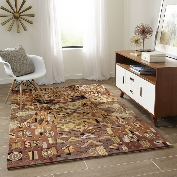 """Momeni New Wave Multicolor Hand-Tufted and Hand-Carved Wool Rug - 5'3"""" x 8'"""