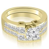 2.20 cttw. 14K Yellow Gold Channel Set Diamond Princess and Round Cut Bridal Set