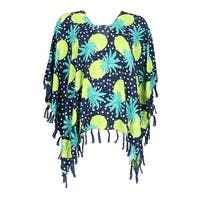 CTM® Women's Pineapple Print Poncho with Tassels - One size