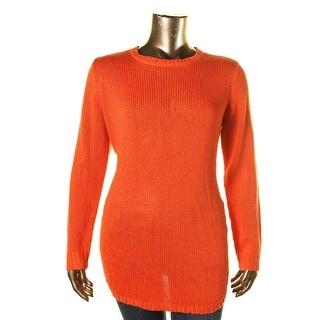 Lauren Ralph Lauren Womens Plus Open Stitch Long Sleeves Pullover Sweater