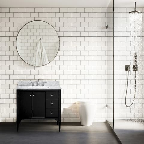 "36"" Freestanding Black Bathroom Vanity with White Carrara Marble Top"