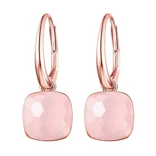Vedantti Mini Honeycomb Cut Rose Quartz Gemstone Diva Leverback Earring