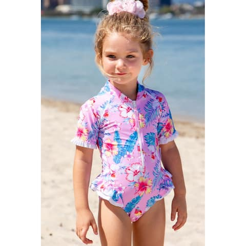 Sun Emporium Paradise Print Frill Short Sleeve Swim Suit Baby Girls