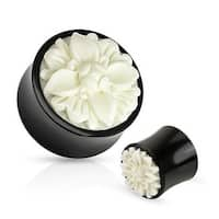 Frasera Flower White Hand Carved Bone Inlay Organic Buffalo Horn Saddle Fit Plug (Sold Individually)