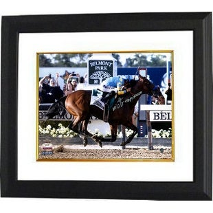 American Pharoah signed 11x14 Photo 2015 Belmont Stakes Finish Line Horse Racing Triple Crown Custo