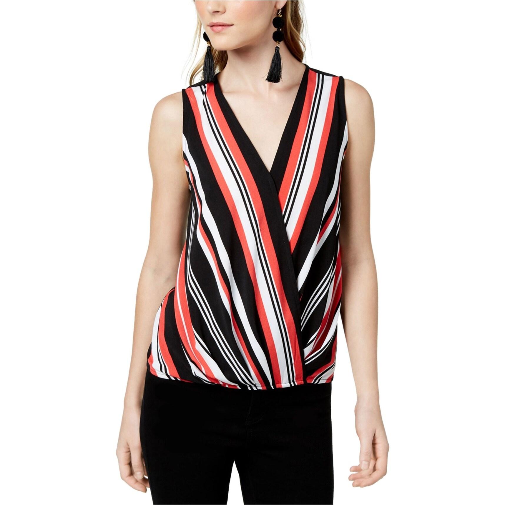 Bar III Womens Striped Surplice Pullover Top