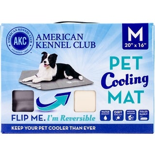 """American Kennel Club Solid Reversible Cooling Mat 20""""X16""""-Taupe"""