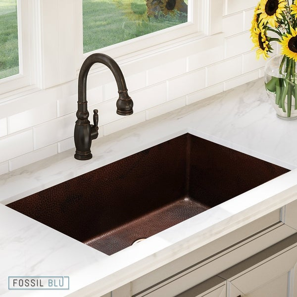 Luxury 32 inch Extra-Thick Copper Undermount Kitchen Sink, Single Bowl, Hammered Finish, includes Disposal Flange, by Fossil Blu
