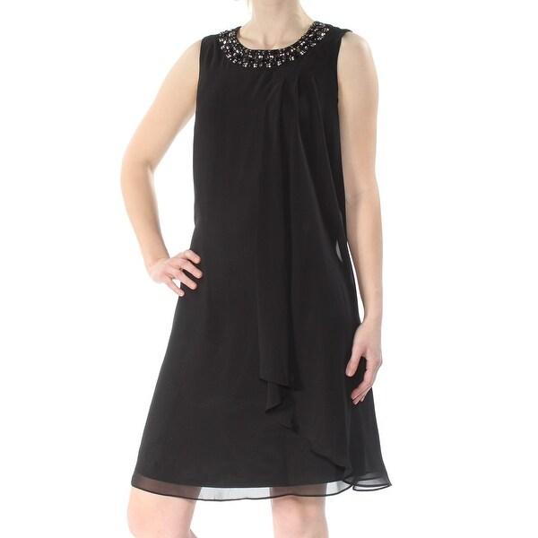 VINCE CAMUTO Womens Black Embellished Sleeveless Jewel Neck Above The Knee Trapeze Dress Size: 10