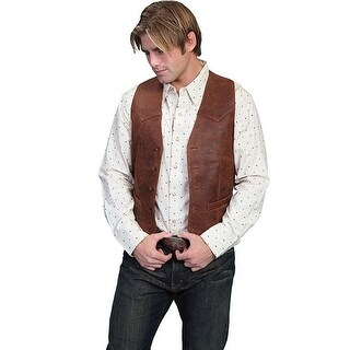 Scully Western Vest Mens Lambskin Leather Button Brown 503-60