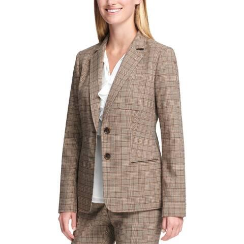 Tommy Hilfiger Womens Blazer Plaid Business
