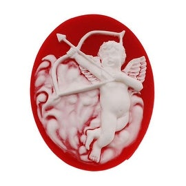 Lucite Oval Cameo - Red With White Cupid And Bow 40x30mm (1 Piece)