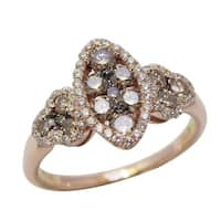 Prism Jewel 0.85Ct Brown Color Natural Diamond with Diamond Cluster Ring,Rose Gold - White G-H