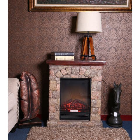 Copper Grove Cricova Poly-stone Electric Fireplace Heater Mantel with Remote Control