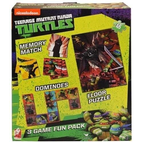 Teenage Mutant Ninja Turtles 3 in 1 Activity Game Box - TMNT Puzzle, Floor Dominoes, Memory Match