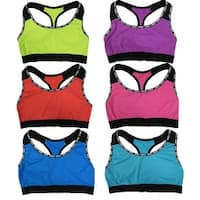 "Women 6 Pack Neon Color ""Sweet"" Edge Matching Non-Padded Yoga Sports Bras"