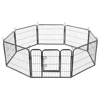Gymax 24'' 8 Panel Pet Puppy Dog Playpen Door Exercise Kennel Fence Metal - black