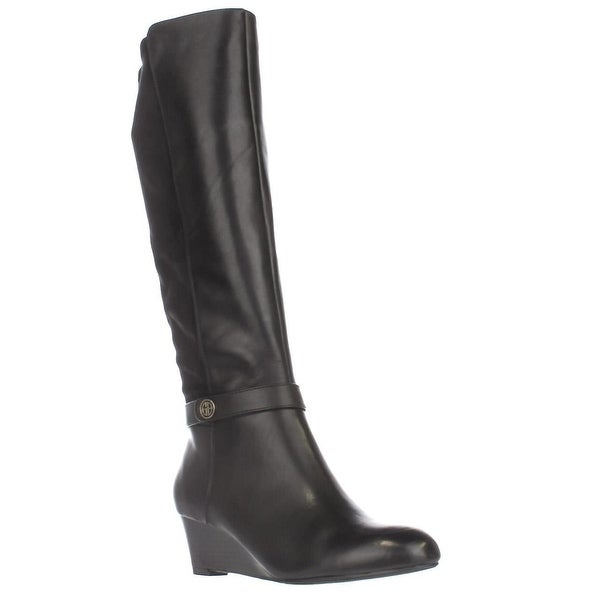 GB35 Dafnee Knee High Wedge Boots, Black