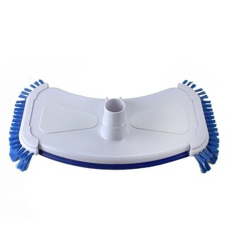 """14"""" Blue and White Deluxe Cast Iron Weighted Vacuum Head with Side Brushes"""