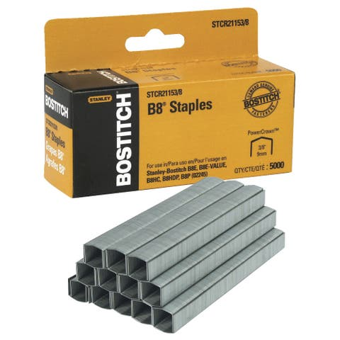 Bostitch B8 PowerCrown Staples, 3/8 Inch, Box of 5000