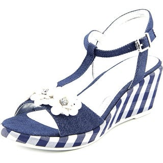 Nina Kids Suzy Open Toe Canvas Wedge Sandal
