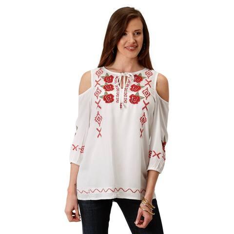 Roper Western Shirt Womens S/S Peasant Split White
