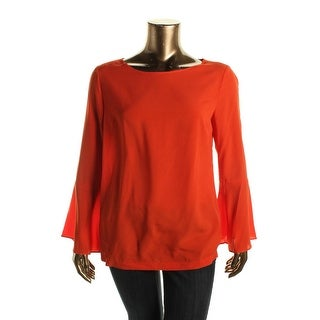 ECI Womens Bell Sleeve Keyhole Casual Top