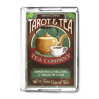Tarot & Tea - Vintage Sign - Lantern Press Artwork (Acrylic Serving Tray)