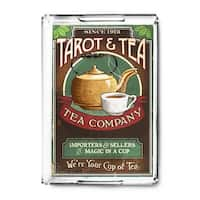 Tarot & Tea - Vintage Sign - Lantern Press Artwork (Acrylic Serving Tray)
