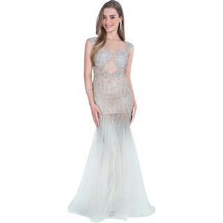 Terani Couture Illusion Embellished Formal Dress