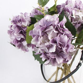 "G Home Collection Luxury Silk Hydrangea Stem in Light Purple 18"" Tall"