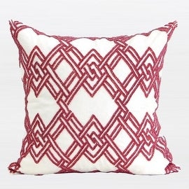 """G Home Collection Luxury Red Handmade Textured Check Beaded Pillow 20""""X20"""""""