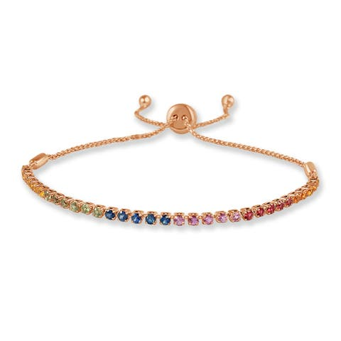 Rainbow Sapphire & Diamond Adjustable Bracelet 14K Rose Gold by Joelle Collection
