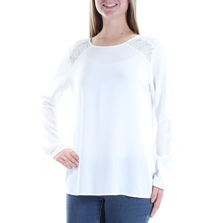 Link to ALFANI Womens Ivory Lace Long Sleeve Jewel Neck Top  Size 8 Similar Items in Tops