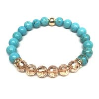 Turquoise & Champagne Crystal 'Glow' stretch bracelet 14k Over Sterling Silver