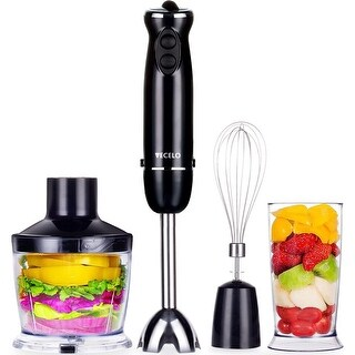 VECELO 700W Premium 4-in-1 Immersion Hand Blender 6 SpeedsSet with Food Processor Chopper Egg Whisk 500ml Beaker - N/A