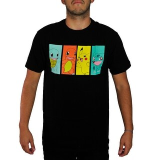 Pokemon Pikachu & Kanto Starters Men's Black T-shirt
