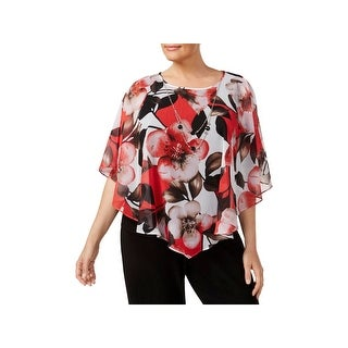 Alfred Dunner Womens Plus Poncho Top Chiffon Printed