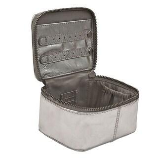 Women's Jewelry Case - Metallic Leather Travel Cube
