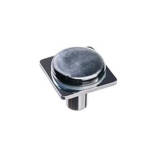 Sietto M-1302 Geometric 1-1/4 Inch Square Cabinet Knob with Irid Black Glass