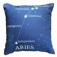 Horoscope Navy Blue Decorative Throw Pillow - Aries