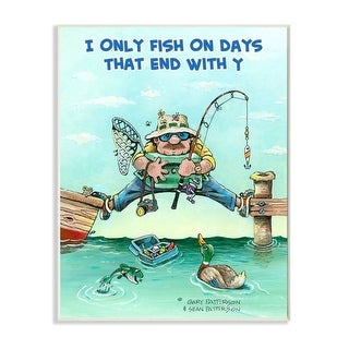 Link to Stupell Industries Days That End With Y Funny Sports Fishing Cartoon Design Wood Wall Art Similar Items in Wood Wall Art