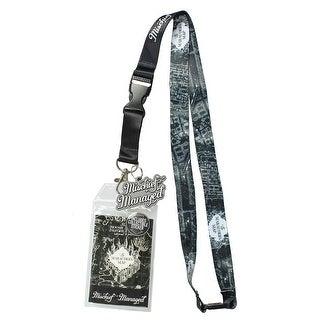 "Harry Potter Mischief Managed Marauders Map ID Lanyard Badge Holder With 2"" Rubber Charm Pendant And Collectible Sticker"